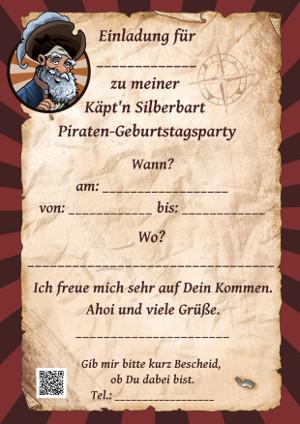 Einladungskarte zur Piraten-Geburtstagparty